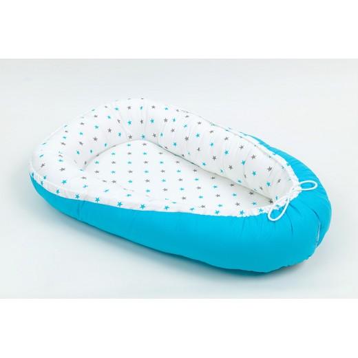 Hnízdo pro miminko vzor HVĚZDIČKY modré šedé malé